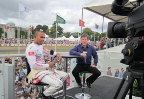Lewis Hamilton and Keith Huewen at Goodwood 2010